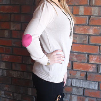 Oatmeal Sweater with Pink Heart Elbows