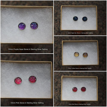 10mm Faux Druzy Earring Stud in Sterling Silver Setting