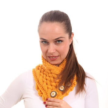 Hand Knitted Scarf, Gold Yellow Scarf, Classica Handknit Scarf, cowl, neck warmer, elegant women fashion knitting accessories, sunglow, gift