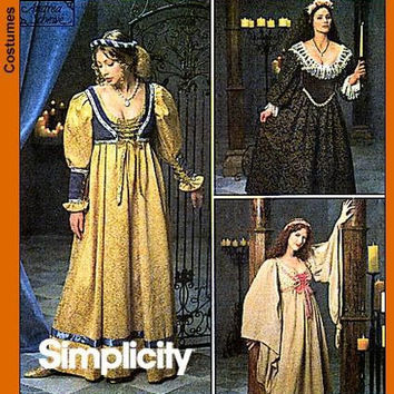 Misses Costume Sewing Pattern, Renaissance Medieval Maiden Dress, Halloween Costume, 8192 Sizes 4, 6, 8 uncut
