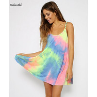 Summer Tie Dye long Camisole for Women Spaghetti Strap Top Sexy Sleeveless Camiseta Dress Long Camisoles