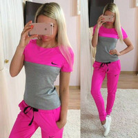 Nike Fashion Short Sleeve Sport Gym Set Two-Piece Sweatpants Sweatshirt