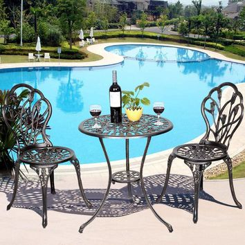 Goplus 1 Table + 2 Chairs Set Cast Aluminum Patio Furniture Tulip Design Bistro Set Antique Copper HW49512