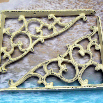 Wall Bracket Cast Iron Shelf Ornate Brace Creamy Off White Ecru Decorative Distressed Shabby Chic Brackets 1 Pair (2 individual brackets)