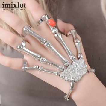 Imixlot 1 PC Gothic Punk Skull Finger Bracelets For Women Silver Skeleton Bone Hand Bracelets Bangles Christmas Halloween Gift