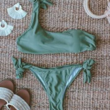 'Aeolia' Olive Green One Shoulder Tied Bikini