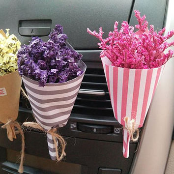 Dry Flower Car Air Freshener, Real Flora Car Vent Clip, Birthday Gift Card Decal Accessories