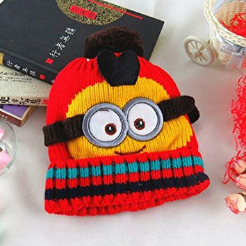 Fashion Warm Cute Woolen Crochet Balls Hat Cap Minions New Despicable Me Child Baby Boy or Girls (red)