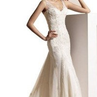 Amazon.com: Sexy Biggoldapple Sheath/Column V-neck Court Train Wedding Dress With Lace Ivory: Clothing