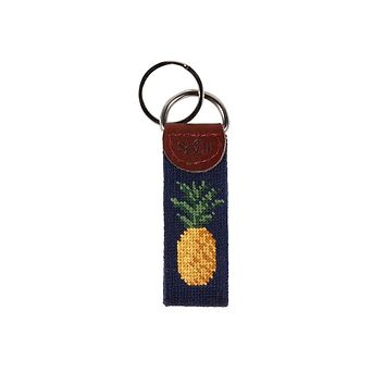 Pineapple Needlepoint Key Fob in Dark Navy by Smathers & Branson