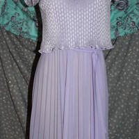 M.C.S. Ltd size 10 70s 80s vintage lilac 2fer look dress pleated tie belt waist ruffles tie neck