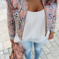 Ethnic Print Long Sleeve Blazer