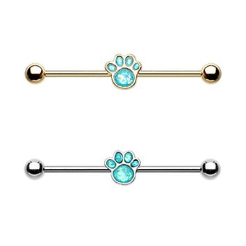 Golden & Silver Animal Lover Opal Paw Print Industrial Barbell