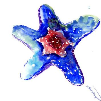 Ultramarine blue, red starfish art, original watercolor painting, sea animals 10 x 8 in, sea world, beach artwork, beach house, bathroom