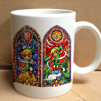 the legends of zelda stained glass design for mug, ceramic, awesome, good,amazing