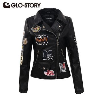 GLO-STORY 2017 Autumn Fashion Women Embroidery Rivet PU Leather Jacket Chic Slim Long Sleeve Appliques Outerwear Coats 5588