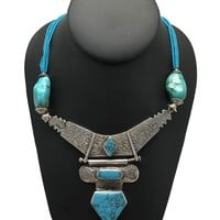 "Multi Beaded Afghan Turkmen Tribal Blue Turquoise Inlay V-Neck Necklace 22"",LN15"