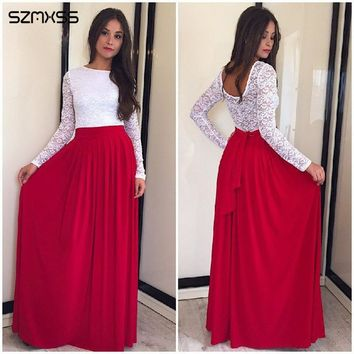 SZMXSS New Spring 2018 Lace O-neck Robe Long Summer Sleeve Patchwork Party Women Dresses Casual Maxi Dress Backless Vestidos