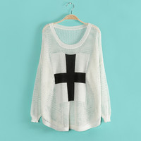 Unique White Cross Bat Sleeve Hollow Out Sweater