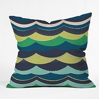 Vy La Unwavering Love Blue Green Throw Pillow
