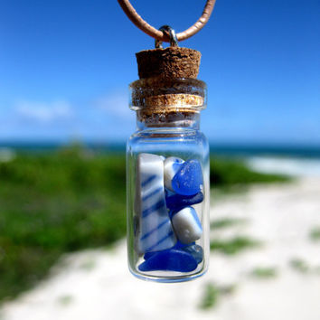 Hawaiian Cobalt & Cornflower Blue Beach Glass and Blue and White Beach Pottery in Treasure Bottle on India Leather Necklace