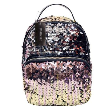 Bling Bling Sequins Backpack Women School Bags PU Princess Backpack Bag All-match Small Travel Sequins Backpack
