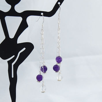 Crystal Amethyst Sterling Silver Drop Earrings