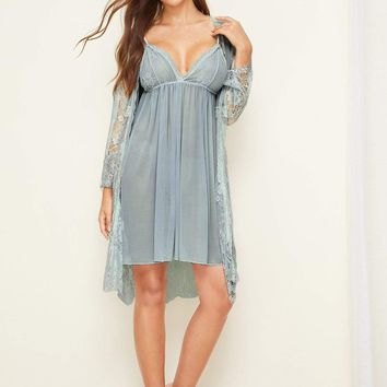 Floral Lace Cami Dress With Sheer Robe