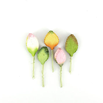 50 Mini Paper Leaves - Pink, green and orange spring leaves with wire stems - Made of Mulberry Paper - Perfect for cardmaking & scrapbooking
