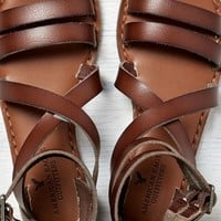 AEO Women's Buckled Gladiator Sandal (Medium Brown)