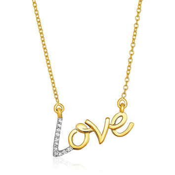 Cursive Scripted Love Necklace with Diamonds in 14k Yellow Gold