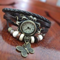 Leather strap watch retro butterfly JCFCD