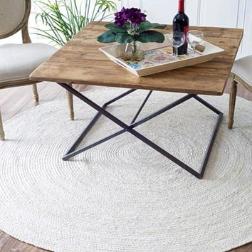 Everett Eco Natural Jute White Round Rug