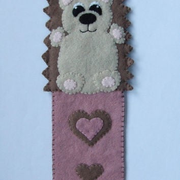 Handmade Felt Fabric Hedgehog Bookmark Pink & Brown