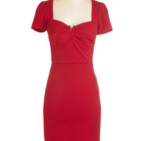 ModCloth Long Short Sleeves Sheath All for Stun Dress in Red