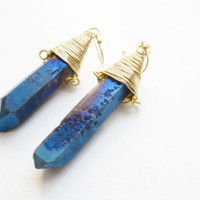 Purple blue titanium quartz druzy spike earrings