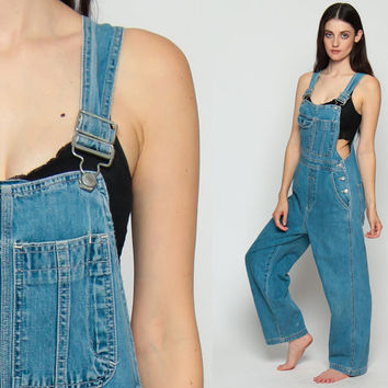 Baggy Overalls 90s Denim Women Jeans GAP Grunge Pants Long Jean Blue Suspender Pocket Hipster Vintage Jumpsuit Small