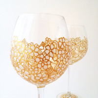 Pair of White Lace wine goblets