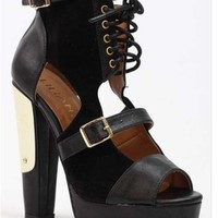 Liliana Plenty 5 Military Lace Up Booties. Chunky Heel with Metal Gold Plate | Glam Shoetique