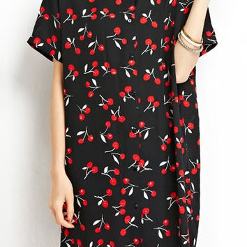Black Cherry Print Short Sleeve Chiffon Dress