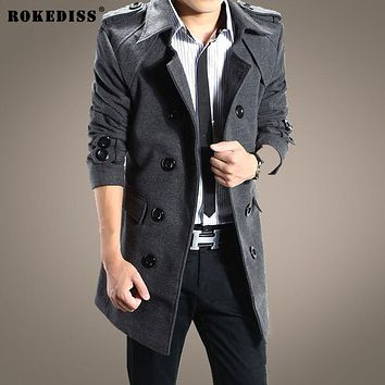 ROKEDISS 2017 New Winter Double breasted wool coat men long sections thick woolen coats Mens Casual Fashion Jacket Z128