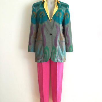 Vintage 1990s 'Nogo' collarless hand woven ikat oversized cotton jacket with single button front and hip pockets