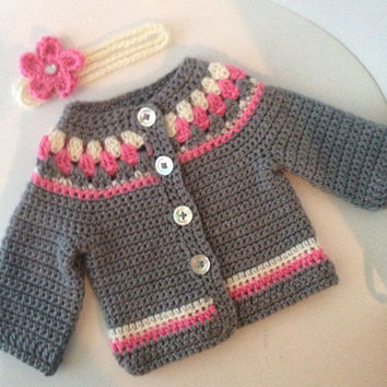 Baby Girl Crochet Sweater and Headband