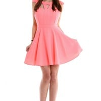 Pink Dress with Cutout Neckline & Pleated Skirt