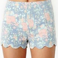Floral Scallop Shorts