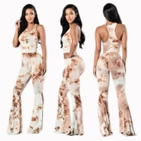 Track Back Print Wide Legs Two Pieces Set 22186