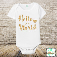 Hello World - Infant One-Piece - Glitter One Piece - Coming Home Outfit