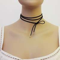 Genuine Suede Wrap Necklace / Wrap Necklace / Suede Cord Choker / Black Wrap Choker / Tie Cord  Necklace / Trendy Necklace / N296