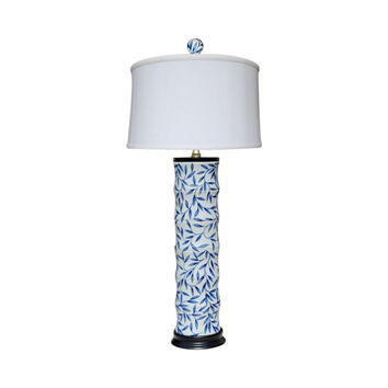 Blue and White Bamboo Floral Bamboo Style Porcelain Vase Table Lamp 28""