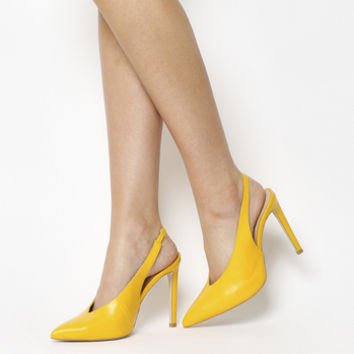 Office Hix V Cut Slingback Court Heels Yellow Leather - High Heels